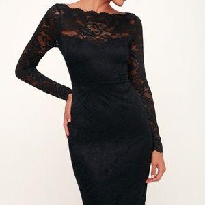 Lulus Margalo Black Lace Long Sleeve Bodycon Dress